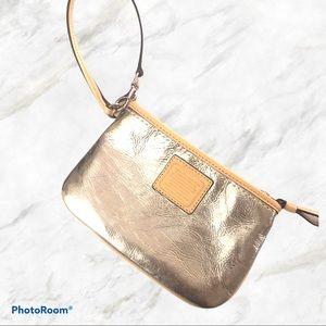 Coach authentic silver wristlet wallet